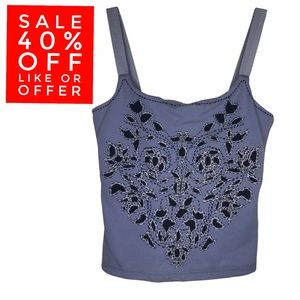 Express Y2K Crop Top Sleeveless Embroidered Top XS